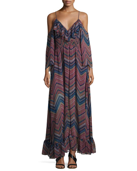 MISA Los Angeles Karlii Cold-Shoulder Chiffon Maxi Dress