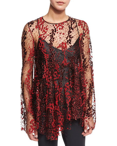 Opening Ceremony Long-Sleeve Enamel Glitter Sheer Top, Blaze
