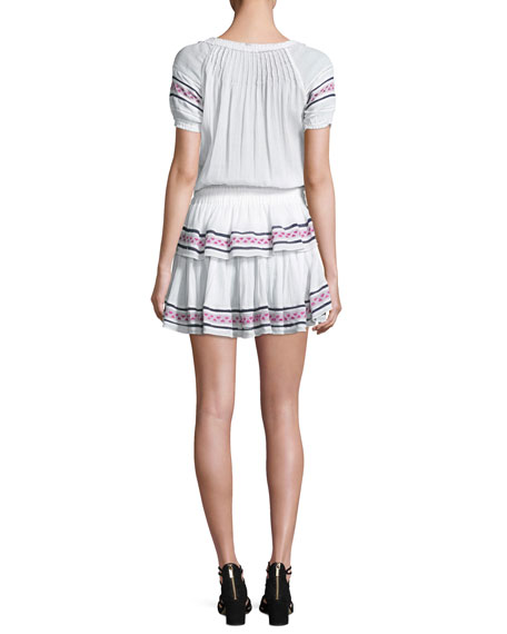 Poppy Baja Embroidery Cotton Mini Dress, White