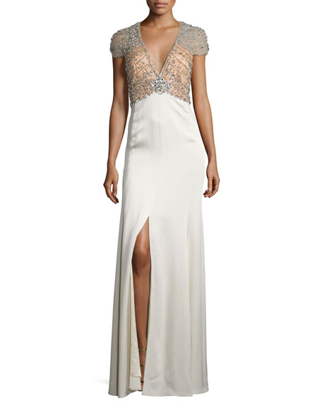 Jenny Packham Sequined-Bodice Deep-V Gown, Illusion/Glass