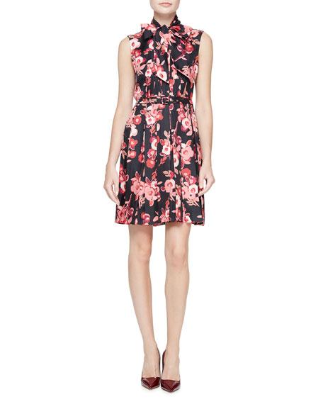 sleeveless tie-neck floral silk pleated dress, black