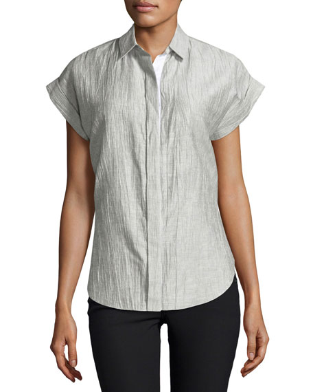 Rag & Bone Ara Short-Sleeve Crinkle Tie-Back Blouse,