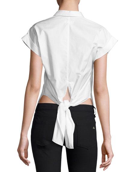 Ara Short-Sleeve Poplin Tie-Back Blouse, White
