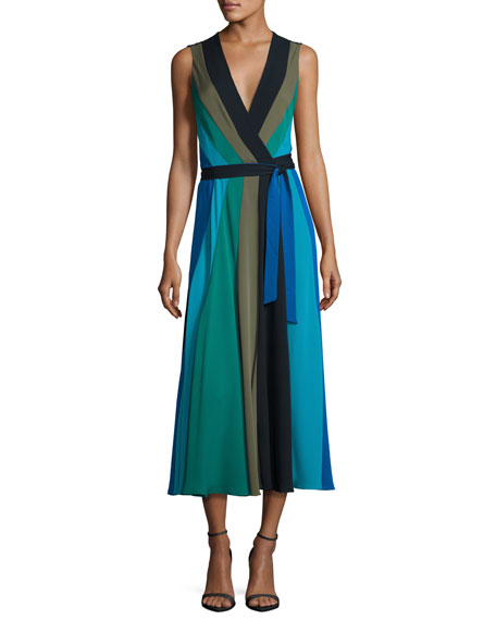 Penelope Colorblock Wrap Silk Jersey Maxi Dress