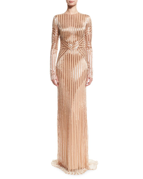 Beaded-Stripe Long-Sleeve Gown, Rose Gold