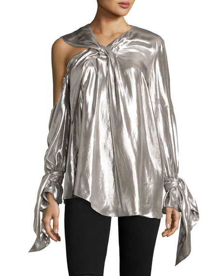 Iro Agata Long-Sleeve Lam?? Blouse, Silver