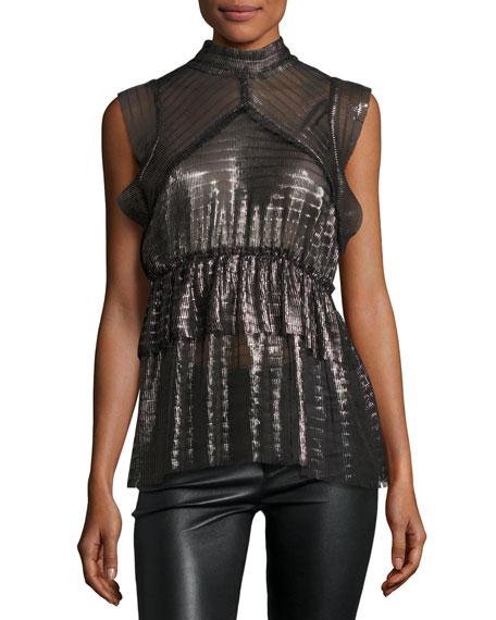 Iro Anmari Sleeveless Tiered Metallic Top, Black/Silver