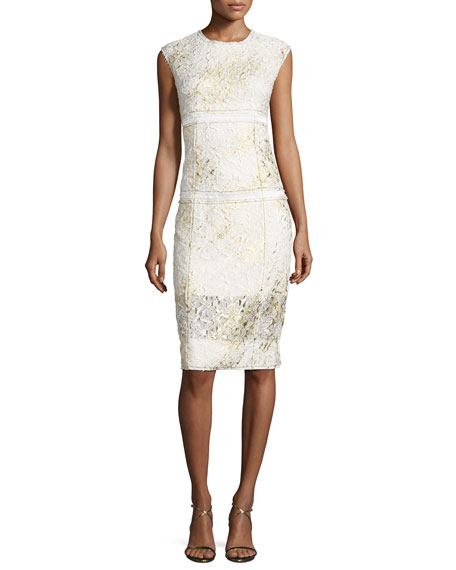 Sleeveless Mixed-Media Sheath Dress, Gesso