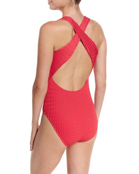 Evoke Textured Cross-Back One-Piece Swimsuit, Cranberry