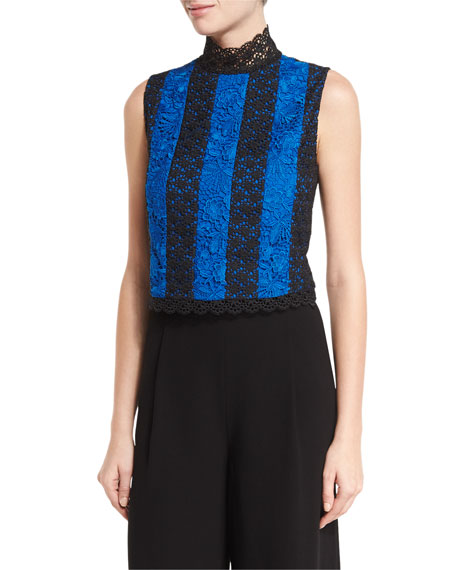 Diane von Furstenberg Bonita Colorblock Lace Sleeveless Top