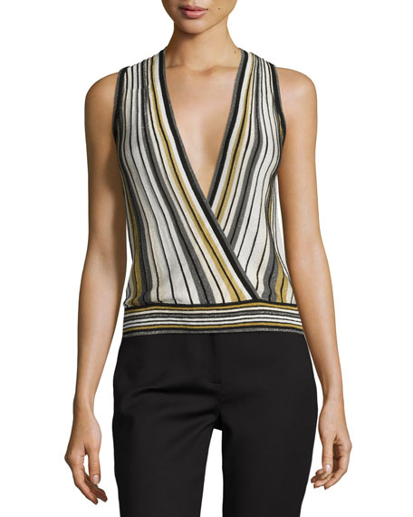Diane von Furstenberg Velda Metallic Striped Surplice Top,