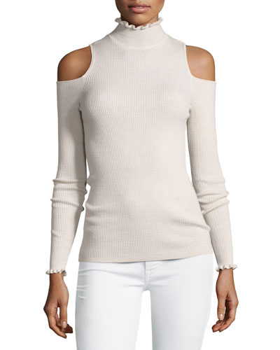 Cold-Shoulder Ribbed Ruffle-Trim Top, Blush