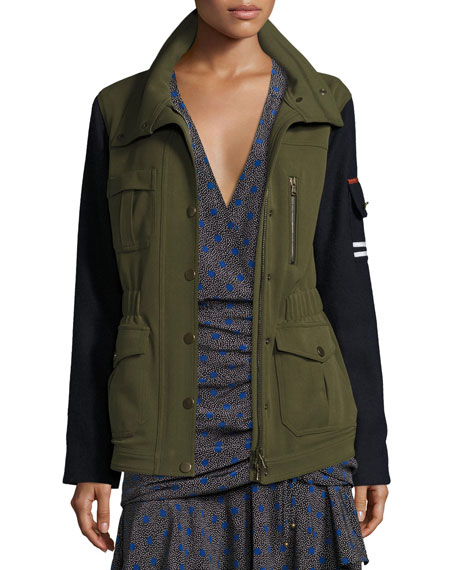 Skyline Two-Tone Army Jacket, Army Green