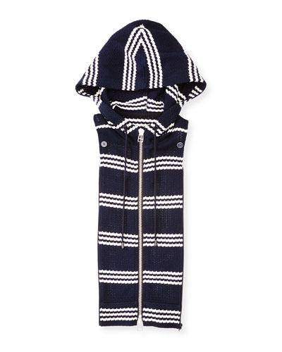 Striped Zip-Front Hoodie Dickey, Navy/White