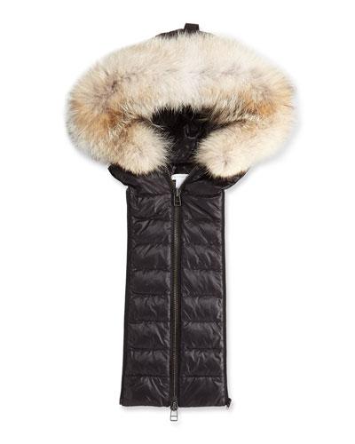 Quilted Fur-Trim Hoodie Dickey, Black