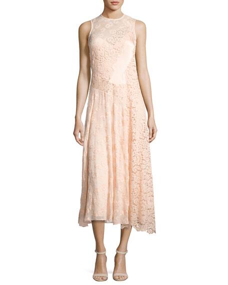 Rebecca Taylor Mixed-Lace Sleeveless Midi Dress, Ballet