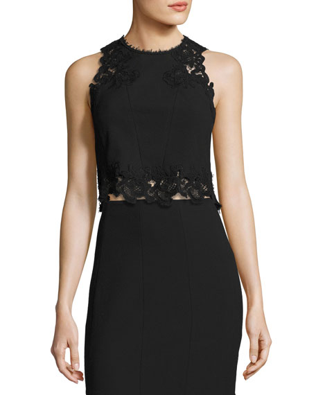 Rebecca Taylor Piqué Lace-Trim Crop Top, Black