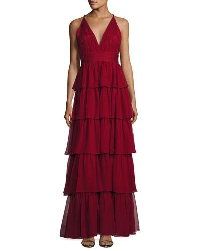 Sleeveless Tiered Silk Chiffon Gown, Bordeaux