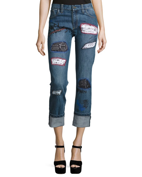 Alice + Olivia Hanna Distressed Patchwork Cuffed Jeans