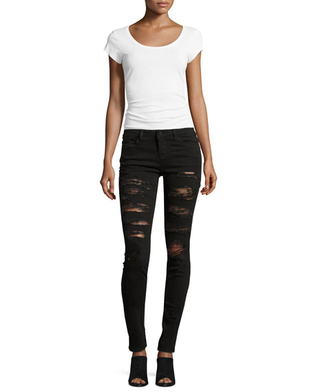 Jane Distressed Skinny Jeans, Black