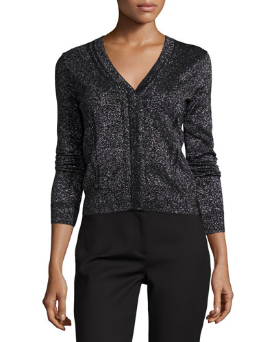 Adelyn Metallic V-Neck Cardigan, Black/Silver