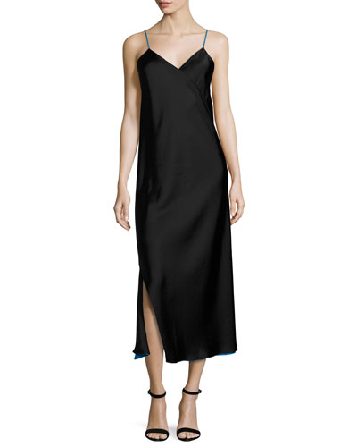 Sleeveless Reversible Satin Slip Dress, Black