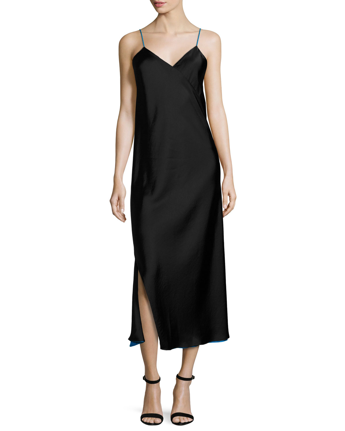 9d83fc1668acdb DKNY Sleeveless Reversible Satin Slip Dress