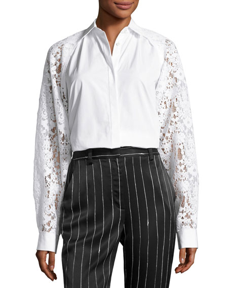 DKNY Collared Lace-Trim Poplin Shirt, White
