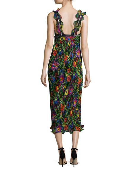 Sleeveless Floral Pleated Midi Dress, Black/Multicolor