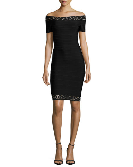 Herve Leger Grommet Off-the-Shoulder Bandage Dress, Black/Combo