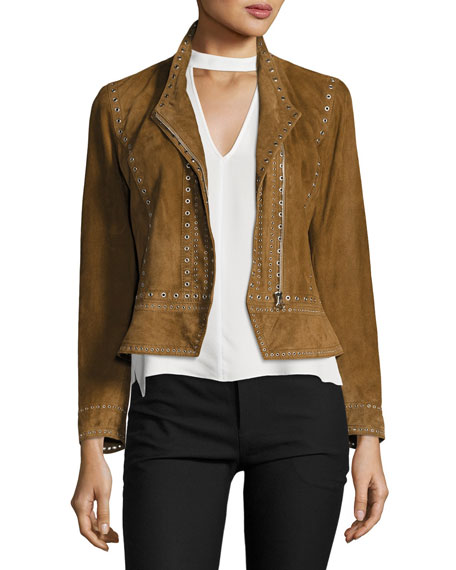 Derek Lam 10 Crosby Cropped Studded Suede Jacket,