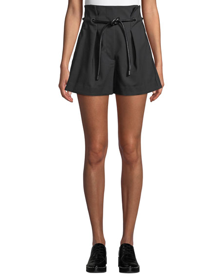 3.1 Phillip Lim Pleated Paperbag-Waist High-Rise Shorts, Antique