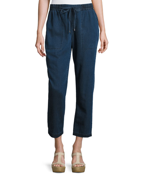 Eileen Fisher Denim Drawstring Ankle Pants