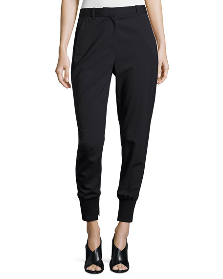 3.1 Phillip Lim Lightweight Stretch Wool Track Pants,