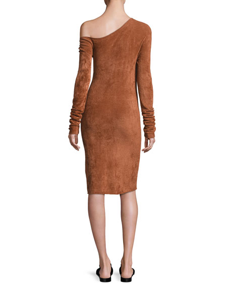 Long-Sleeve Velveteen Sheath Dress
