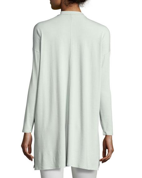 Mandarin-Collar Button-Front Jersey Tunic