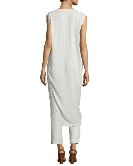 Long Asymmetric Silk Georgette Crepe Tunic