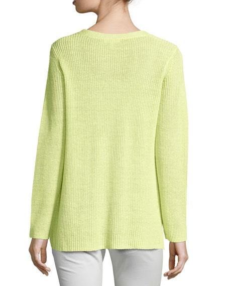 Long-Sleeve Organic Linen V-Neck Top, Petite