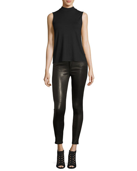 The Charlie Leather Skinny Ankle Jeans, Black
