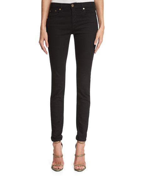 Five-Pocket Denim Leggings, Black