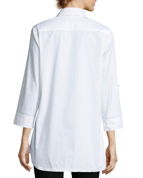 Sequined-Front Easy Shirt, Petite