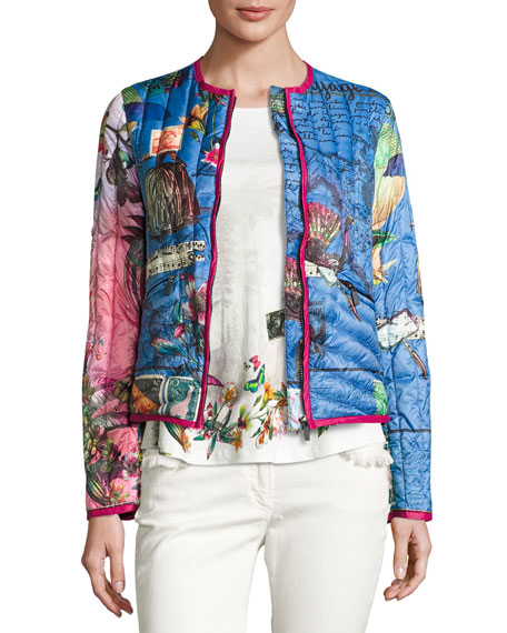 Postcard-Print Quilted Jacket, Bluette