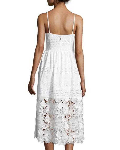 Floral-Appliqué Eyelet Sleeveless Dress, White