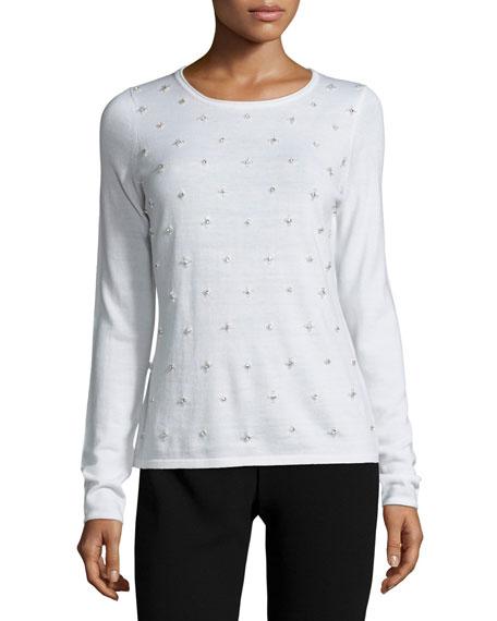 Elie Tahari Miranda Embellished Crewneck Sweater, Antique White
