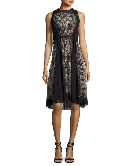 Fuzzi Sleeveless Lace-Print A-Line Dress, Black