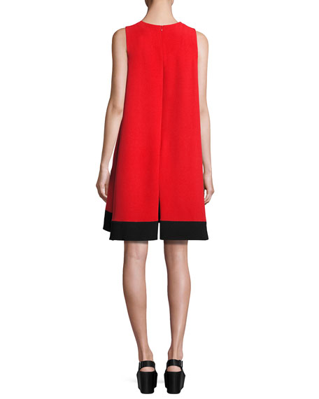 Contrast-Sash Sleeveless Shift Dress, Rojo/Black