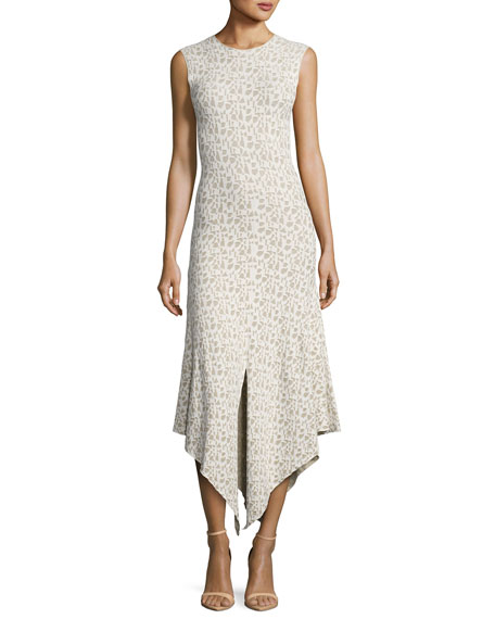 Akris Sleeveless Jacquard A-Line Dress, Blanco/Nude