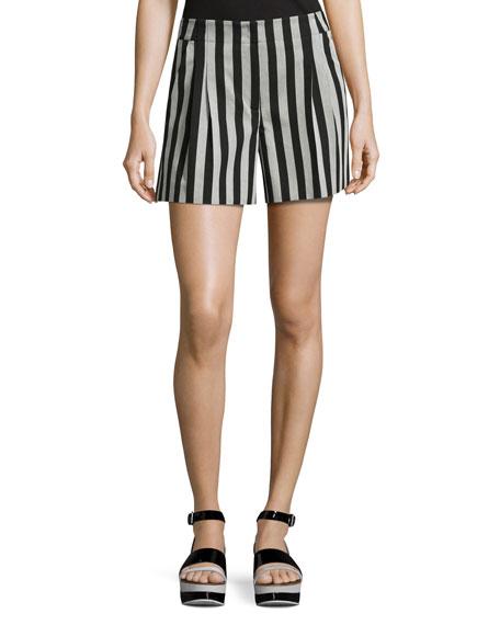 Akris Striped Wide-Leg Shorts, Black/Gris