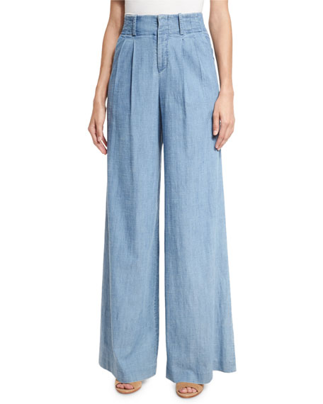 Alice + Olivia Eloise Pleat-Front Wide-Leg Denim Pants