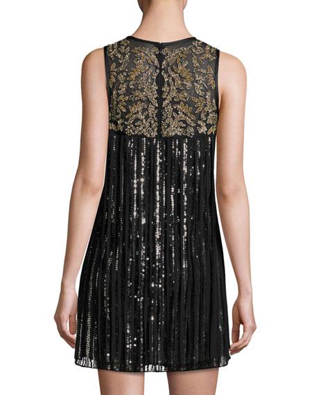 Gida Sequined Chiffon Shift Dress